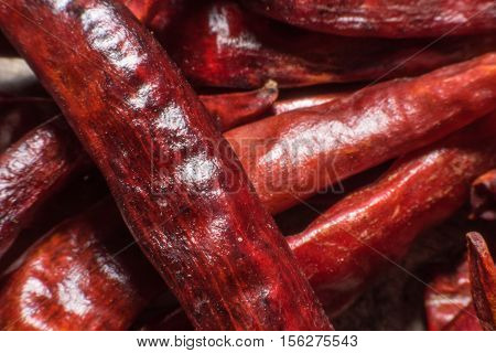 Macro shot of red chili pepper for Thai food,dried red chili pepper,spices - dried red hot chilli chillies pepper