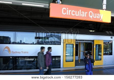 Passengers Get Off Sydney Trains At Circular Quay Station In Sydney, Australia.