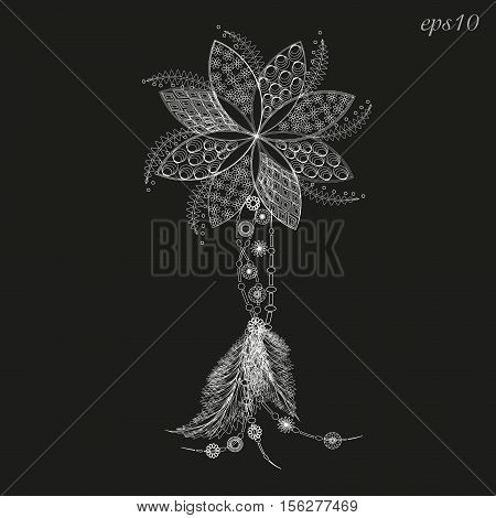 Flower tattoo amulet a white Abstract decoration style graphics folk art handmade author of seven petal design pattern feather pendant henna on the body logo eps10 vector illustration Stock