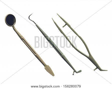 Vintage Looking Dentist Tools Isolated