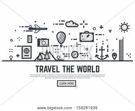 Travel the world illustration vector concept. Thin line style travel banner for web page or tour organization.