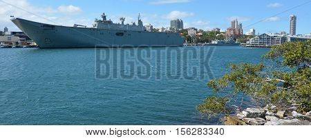 SYDNEY, Australia - OCT 23 2016:Warship mooring at Fleet Base East major fleet bases of the Royal Australian Navy (RAN) establishments and facilities clustered around Sydney Harbour (Port Jackson).