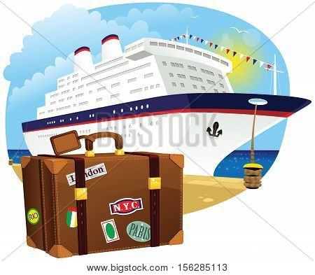 An image of a cruise ship in the harbor, and some old fashioned luggage in the foreground.