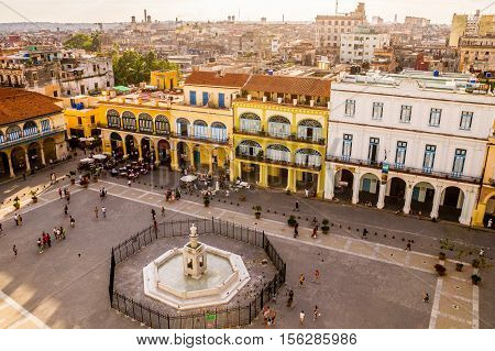 View of Plaza Vieja in Havana, Cuba from above with colorful colonial buildings