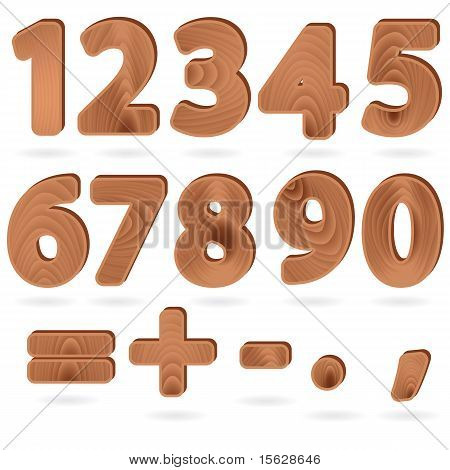 Digits In Wood Grain Textured Style