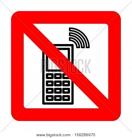 Sign forbidding to use the phone. Vector illustration.