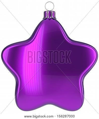 Christmas star hanging decoration purple New Year's Eve bauble ornate Merry Xmas ball. Happy wintertime adornment greeting card design element traditional festive decor ornament blank. 3d illustration