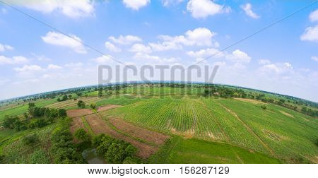 Aerial view of farm fields landscape nature background.