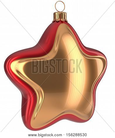 Christmas star shaped Merry Xmas ball golden red hanging decoration adornment New Year's Eve bauble. Happy wintertime holidays greeting card design element traditional ornament blank. 3d illustration