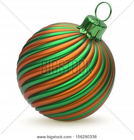 Christmas ball New Year's Eve decoration green orange twisted stripes bauble wintertime hanging adornment shiny souvenir. Traditional ornament happy Merry Xmas winter holidays symbol. 3d illustration