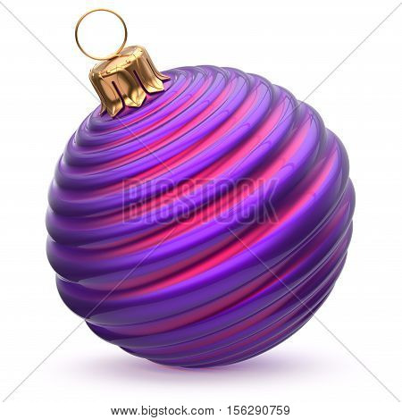 Christmas ball New Year's Eve decoration blue purple striped bauble wintertime hanging adornment waved souvenir. Traditional ornament happy winter holidays Merry Xmas symbol closeup. 3d illustration
