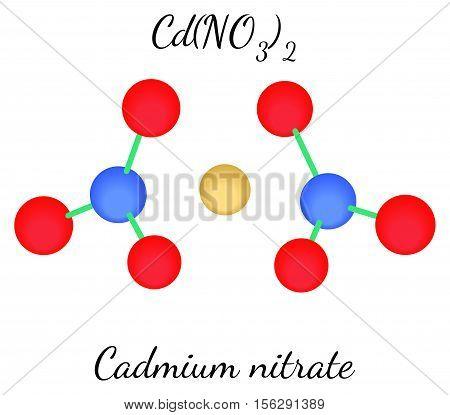 Cadmium nitrate CdN2O6 molecule isolated on white