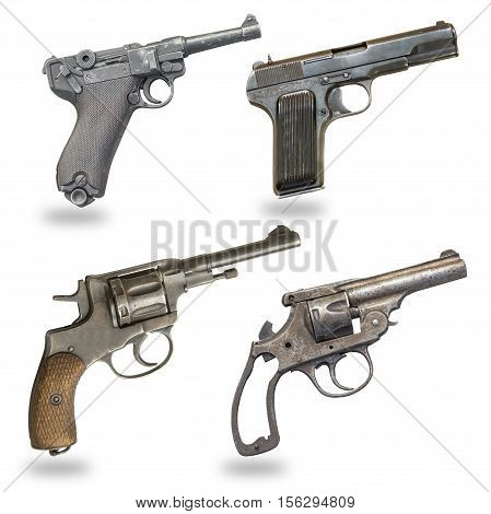 a set of pistols isolated on a white background. Pistol revolver glock gunsweapons