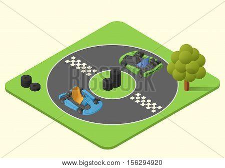 kart sport car vector isometric illustration. karting race lap picture