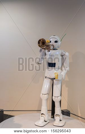 NAGOYA JAPAN - JULY 10 2016 : Toyota Commemorative Museum of Industry and Technology. Robot trumpet performance is one of featured exhibition in Toyota Museum.