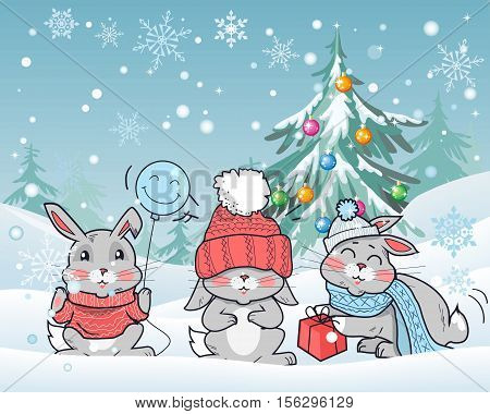Christmas rabbits vector illustration. Flat style. Funny rabbits wear in hat, scarf, sweater with gift, smiling balloon seating on snow in snowfall near christmas tree hung with color ball toys