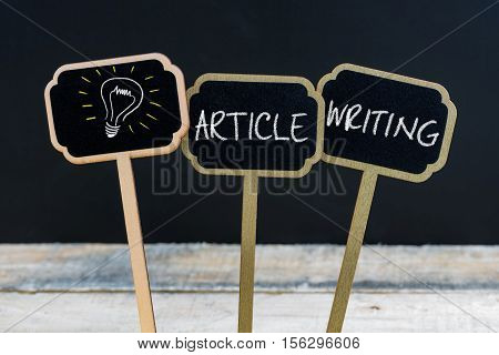 Concept Message Article Writing And Light Bulb As Symbol For Idea