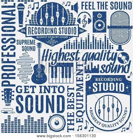 Retro styled typographic vector recording studio and music label seamless pattern or background. Music icons for audio recording audio store advertising branding and identity