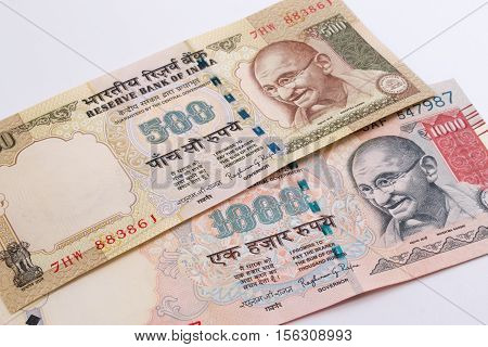 India rupee 500 and 1000 banknote. Mahatma Gandhi of India on Indian 500, 1000 rupee banknote.