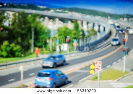 Traffic road bridge turn in Norway bokeh backdrop hd