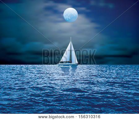 sailboat sail on blue sea ocean horizon, vector background, sailing  illustration, night moonlight sailing