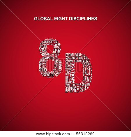 Global eight disciplines typography background. Dark background with main title 8D filled by other words related with global eight disciplines method