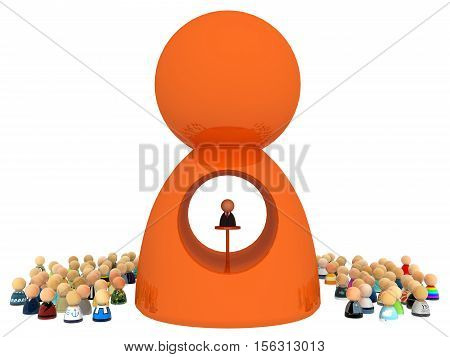 Crowd of small symbolic figures with big figure 3d illustration horizontal