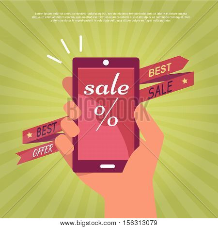 Discounts in electronics store concept. Smartphone in human hand, sale and best offer notices on red ribbon arrow flat vector illustration on green striped background. For shop promotions and ad