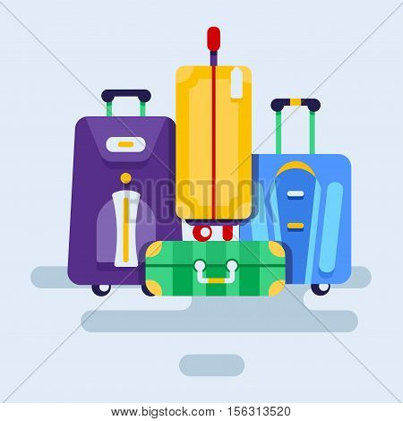 Set of bags with wheels, isolated on a white background