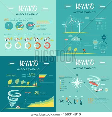 Set of wind infographic vectors. Flat style. People attacked wind, cars lifted vortex, compass rose,  topple trees, wind turbines illustrations, diagrams, data and text elements for climate concept