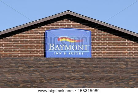Spencer Wisconsin - November 13 2016 Baymont Inn & Suites sign on a building Inn front