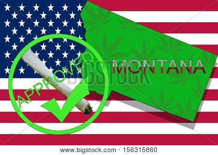 Montana State On Cannabis Background. Drug Policy. Legalization Of Marijuana On Usa Flag,