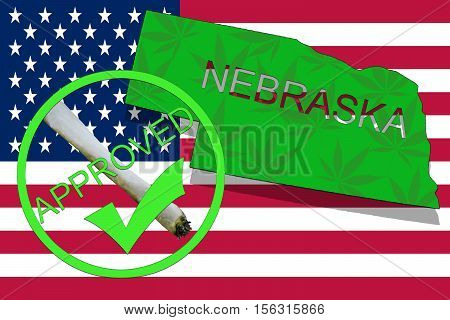 Nebraska State On Cannabis Background. Drug Policy. Legalization Of Marijuana On Usa Flag,
