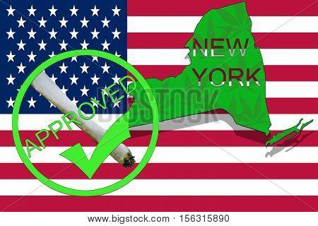 New York State On Cannabis Background. Drug Policy. Legalization Of Marijuana On Usa Flag,