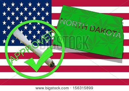 North Dakota State On Cannabis Background. Drug Policy. Legalization Of Marijuana On Usa Flag,
