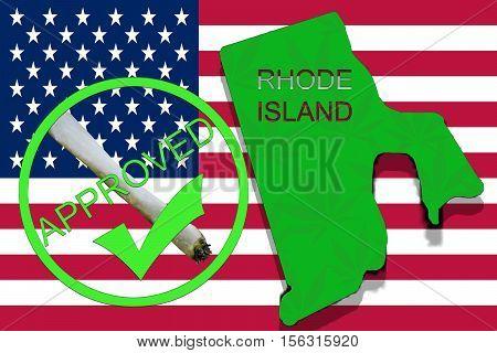 Rhode Island State On Cannabis Background. Drug Policy. Legalization Of Marijuana On Usa Flag,