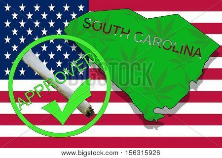 South Carolina State On Cannabis Background. Drug Policy. Legalization Of Marijuana On Usa Flag,