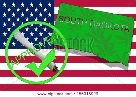 South Dakota State On Cannabis Background. Drug Policy. Legalization Of Marijuana On Usa Flag,