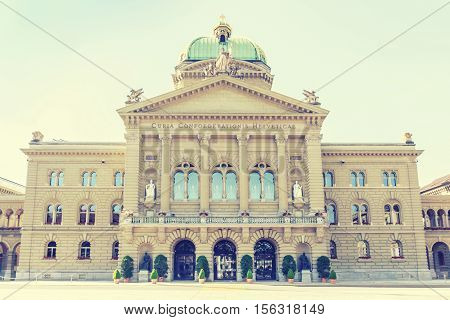 Federal Palace of Switzerland Curia Confoederationis Helveticae Bern capital city of Switzerland vintage effect