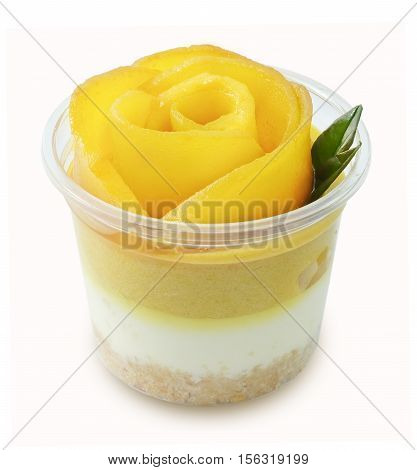 Mango Cheesecake Isolated on White Background A Sweet Dessert Consisting of Cream Cheese Biscuits Crust or Cookies Crust and Ripe Mango.