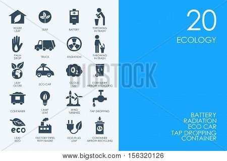 BLUE HAMSTER Library ecology vector set of modern simple icons