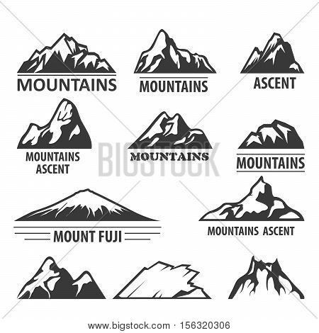 Mountain peaks emblems - alpinism and ascent symbols