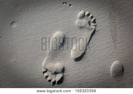 nice amazing closeup fragment of view of detailed bare footprint on sandy beach background