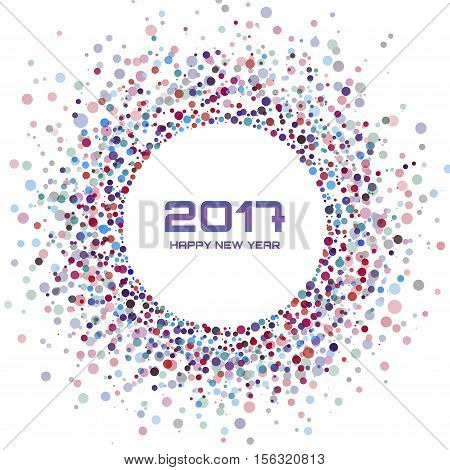 Colorful Bright New Year 2017 frame Background. Glowing confetti circle new year design frame. Vibrant colorful circle background new year card. Vector illustration