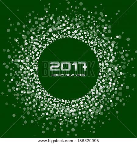 White Bright New Year 2017 circle border design on dark green Background. Light white confetti circle new year frame. Green transparent circle background. Vector illustration