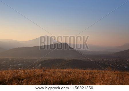 Landscape Of Ridge Mountains, Sky Sunset, Sunrise, Nature Background. National Park