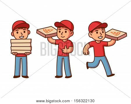Cute pizza delivery boy illustration set. Cartoon vector drawing.