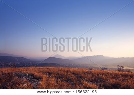 Landscape Of Ridge Mountains, Sky Sunset, Sunrise, Nature Background.