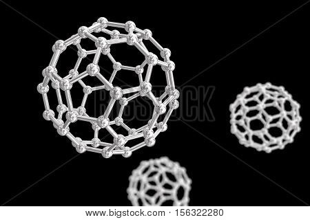 3D illustration of nanoparticles isolated on black background