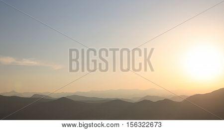 Sunset. Ridge Mountains. Skyline. Dinaric Alps. Sky Gradient. Lovcen, Montenegro